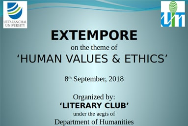"Department of Humanities, organizes an ""Extempore Session"" on ""Human Values and Ethics"""