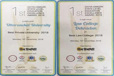 "Uttaranchal University awarded ""Best Private University - 2018"" and ""Best Law College – 2018"" awarded to Law College Dehradun"