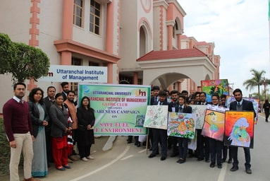 Globe Club of Uttaranchal Institute of Management organizes an Awareness Campaign on 'Save Fuel Save Environment'