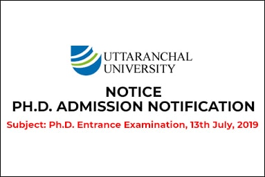 PH.D. ADMISSION NOTIFICATION Subject: Ph.D. Entrance Examination. 13th July, 2019