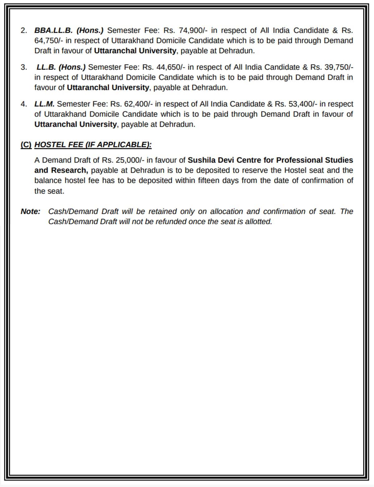 Uttaranchal University Counseling Notification 2019