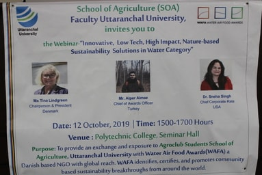 "School of Agriculture organizes an International Webinar on ""Innovative, Low Tech, High Impact, Nature-Based Sustainability Solutions in Water Category"""