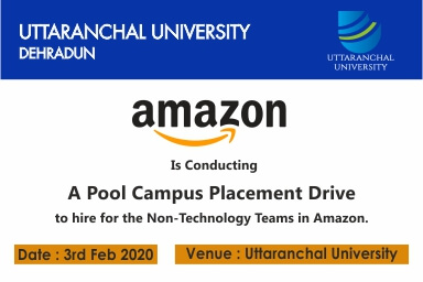 www.amazon.com pool campus placement drive on 3rd Feb 2020 at Uttaranchal University.