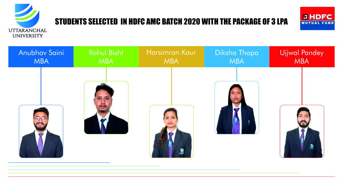 Uttaranchal University congratulates all students for being selected in HDFC AMC with a pay package of CTC 3 LPA. We wish for your great success in your future endeavors.