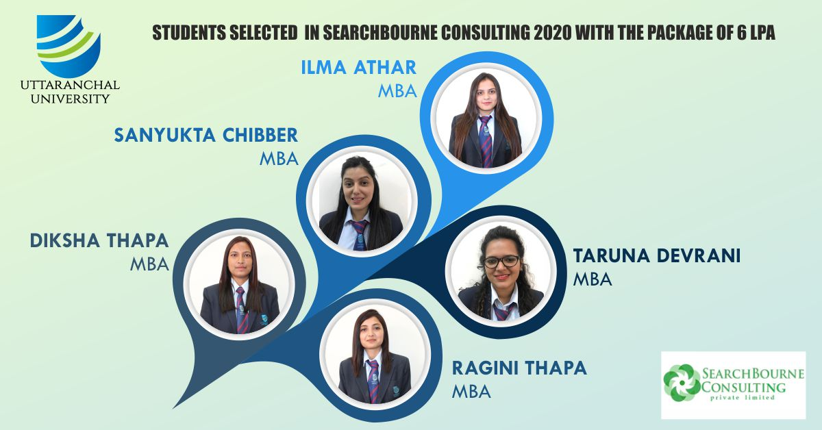 Uttaranchal University congratulates all students for being selected in Searchbourne Consulting Private Limited with a pay package of CTC 6 LPA. We wish for your great success in your future endeavors.