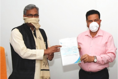 Uttaranchal University comes forward with an altruistic endeavor, Chancellor of Uttaranchal University Shri. Jitender Joshi hands over a Cheque of Rupees Eleven Lakh towards Chief Minister's Relief Fund