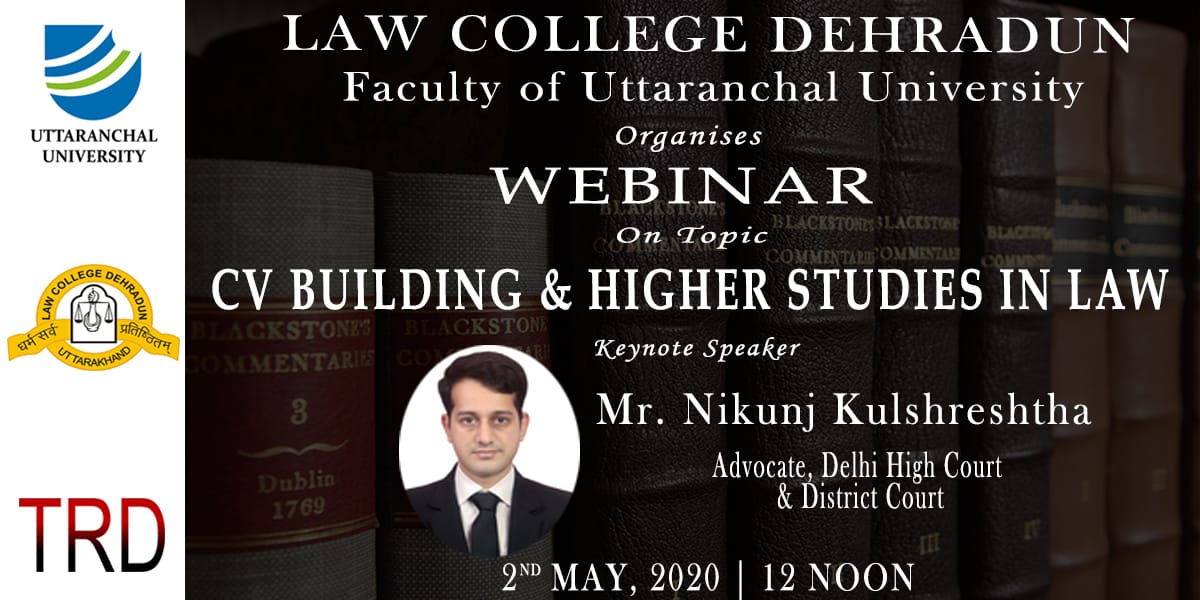 Webinar On Topic CV Building & Higher Studies In Law