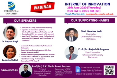 "University Polytechnic, Uttaranchal University, organizes a Webinar on ""Internet of Innovation"""