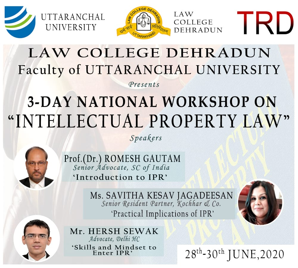 """3-Day National Workshop On """"Intellectual Property Law"""" 28th - 30tj June 2020"""