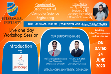 University Polytechnic, Uttaranchal University, organizes an online Workshop on JavaScript
