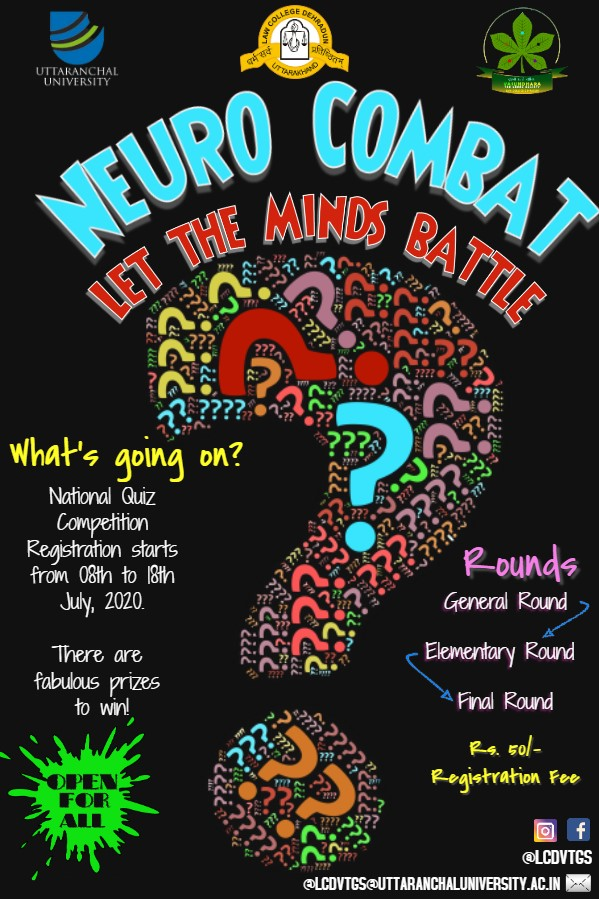 """""""National Quiz Competition 'NEURO COMBAT: LET THE MINDS BATTLE' 20-22nd July"""" - Registrations open"""