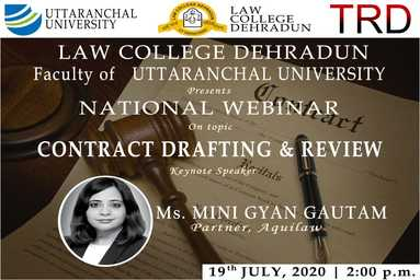 "Law College Dehradun organizes a National Webinar on ""Contract Drafting and Review"""