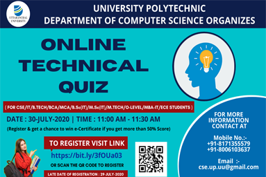 "Computer Science Engineering Department of University Polytechnic, Uttaranchal University, organizes a National Level ""Online Technical Quiz"""