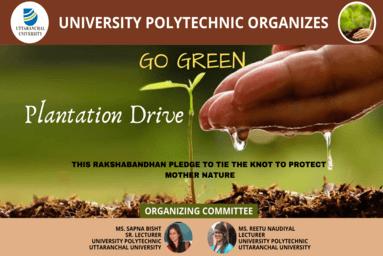 University Polytechnic, Uttaranchal University, organizes Plantation Drive on Raksha Bandhan