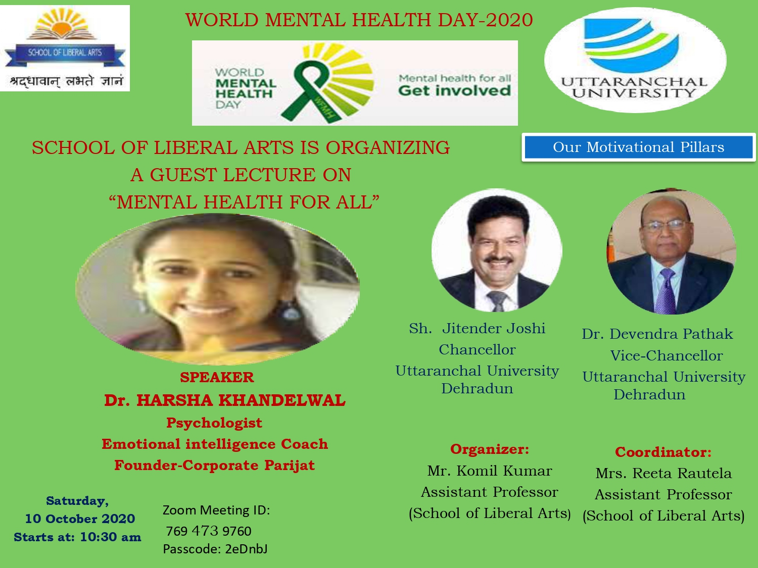 """School Of Liberal Arts Is Organizing A Guest Lecture On """"Mental Health For All"""" - Speaker Dr. Harsha Khandewal"""