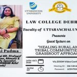 "Guest Lecture on ""Healing Rural And Tribal Communities A Grassroot Approach"" 4th OCT, 2020"