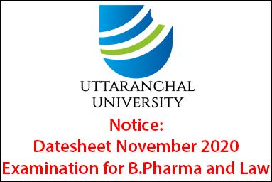 Datesheet November 2020 Examination for B.Pharma and Law