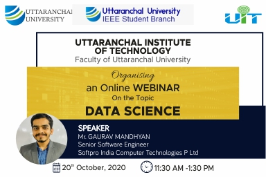 Online Webinar On The Topic Data Science By Mr. Gaurav Mandhyan (Senior Software Engineer)