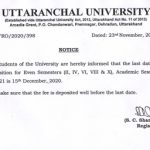 Notice: Fee deposition for Even Semesters ( II, IV, VI, VIII & X ) Academic Session 2020-2021 is 15th December 2020