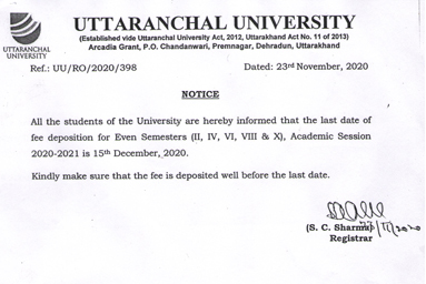 fee deposition for Even Semesters ( II, IV, VI, VIII & X ) Academic Session 2020-2021 is 15th December 2020