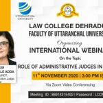 International Webinar On The Topic Role Of Administrative Judges In France 11th November 2020.